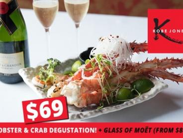 Lobster and Crab Degustation Menu (From $69) + Glass of Moët (From $88) at Kobe Jones (Up to $636 Value)