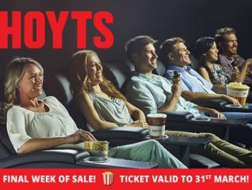 FINAL WEEK - HOYTS Cinema Tickets - Child ($7.50), Adult ($9.99) or LUX ($24.99), Choose from 38 Cinemas!