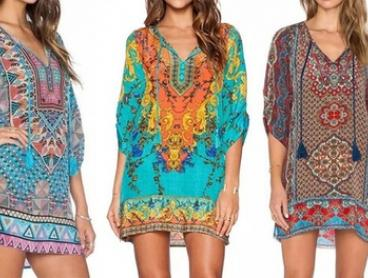 Front Tie Boho-Styled Printed Mini Dress: One ($16) or Two ($26)