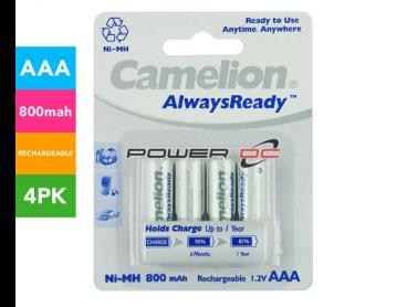 Camelion Always Ready Rechargeable 800mAh AAA Battery 4-Pack