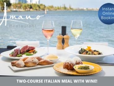 Two-Course Italian Meal with Wine for Two ($49) or Four People ($95) at Amano Restaurant (Up to $212 Value)