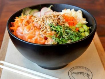 Poke Bowl with Fresh Juice or Coffee for One ($16) or Two People ($31) at Aurigin Organic Cafe (Up to $46.80 Value)