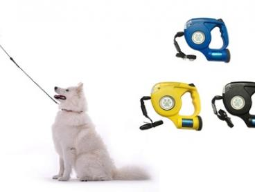 4.5m Retractable Dog Leash with Flash Light and Bag Dispenser: One ($16) or Two ($26)