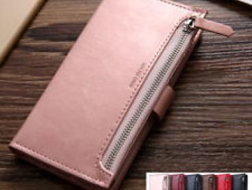 iPhone XR X XS Max 7/8 Plus Zipper Leather Wallet Flip Card Magnetic Case Cover