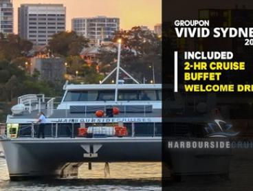 2-Hour Vivid Buffet Cruise and Wine on Harbour Spirit: Tues-Thurs ($39) or Fri-Sun ($49) (Up to $99 Value)