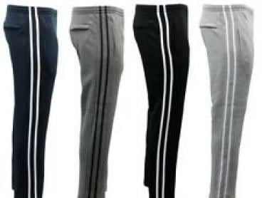 NEW Men's Fleece Lined Track Pants Track Suit Pants Striped Casual w Zip Pocket