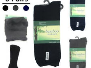 6 Pairs Men's Thick Bamboo Heavy Duty Work Tough Socks Warm Thermal Hiking Camp