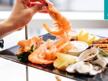 Seafood Stack with a Bottle of Wine at the Marriott Melbourne