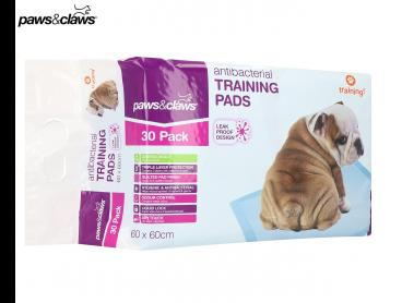 30pk Paws & Claws Antibacterial Training Pads