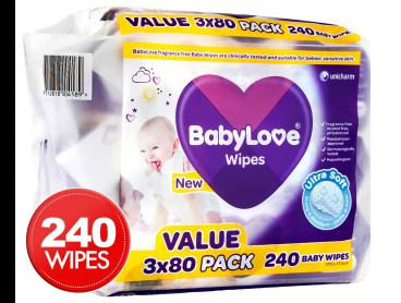 BabyLove Ultra Soft Wipes 3 x 80 Value Pack