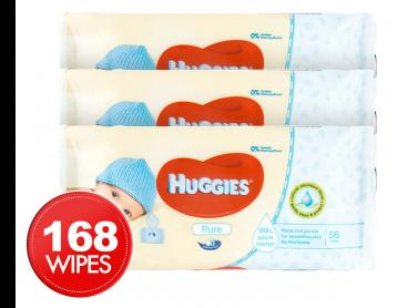 3 x Huggies Baby Pure Wipes 56pk