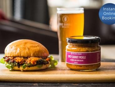 Burger, Chips and Drink for One ($16) or Two People ($31) at Five Barrel Brewing (Up to $60 Value)