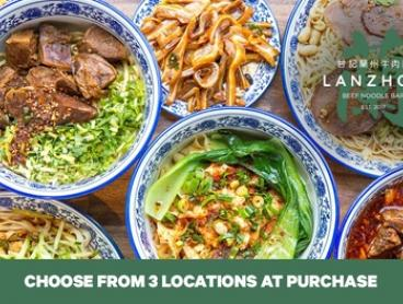 Beef Noodles with Drink: One ($8.99) or Two People ($17.90) at Lanzhou Beef Noodle Bar, 3 Locations (Up to $35.20 Value)