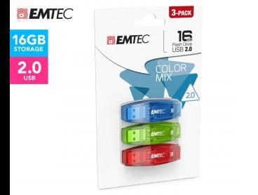 EMTEC 3-Pack C410 Colour Mix 16GB USB 2.0 Flash Drive