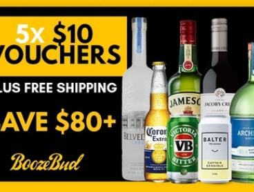 BoozeBud: 5 x $10 Credit Vouchers + Free Shipping (Min Spend $69 per Voucher) - Valid for 5 Separate Orders