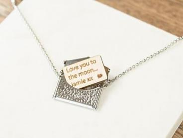 Personalised Mini Envelope Necklace with Engraved Letter